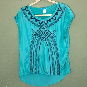 Teal and Navy Tribal Print Blouse  Size Small